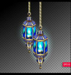 two gold lanterns with blue light from a candle vector image vector image