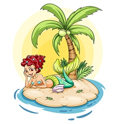 A smiling mermaid in an island vector image