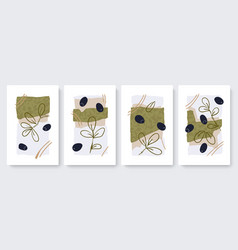 abstract minimal olives fruits leaves set vector image