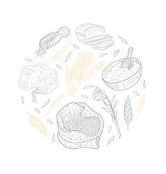 Agricultural plants and baked products round vector