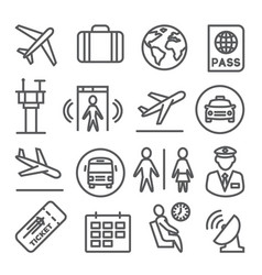 airport line icons set on white background vector image