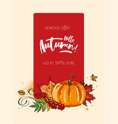 Autumn hello banner with autumnal pumpkin vector