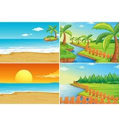 Beach and river vector image