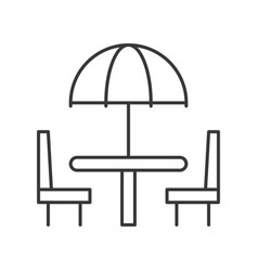 Beach umbrella on table and chair outline icon vector