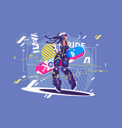 beautiful girl in sportswear with snowboard vector image