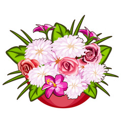 beautiful pot of pink and white flowers vector image