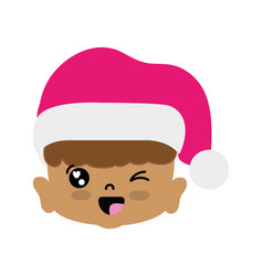 beauty girl head with christmas hat vector image