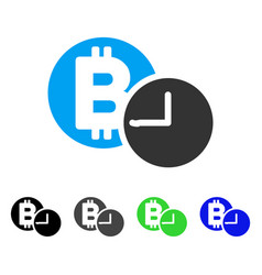 Bitcoin credit clock flat icon vector