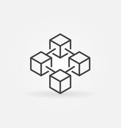 blockchain concept icon in thin line style vector image