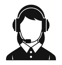 Business woman with headset icon simple style vector image