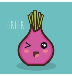 cartoon onion red icon expression design vector image