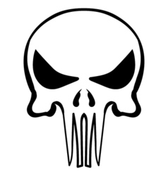 cartoon skull ink sketch vector image