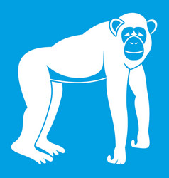 Chimpanzee icon white vector