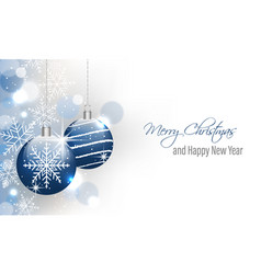 christmas and new year banner with hanging baubles vector image