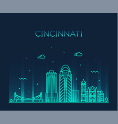 Cincinnati skyline ohio usa linear city vector