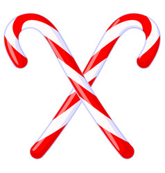 Colorful cartoon crossed candy cane vector
