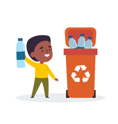 cute boy sorting trash and garbage for recycling vector image