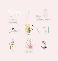 Cute spring clip art little elements with hand vector