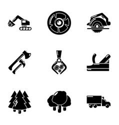Deforestation icons set simple style vector