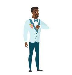 Disappointed african groom with thumb down vector