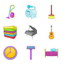 Domestic affair icons set cartoon style vector