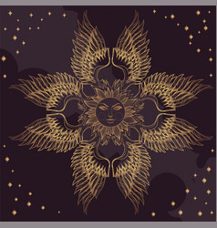 Elegant golden element of stylized feathers with vector