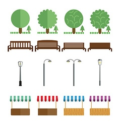 Elements of the park benches lights market tent vector