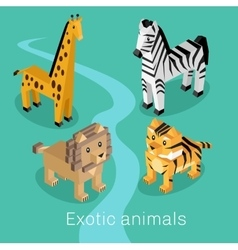 Exotic Animal Set Isometric 3d Design vector image