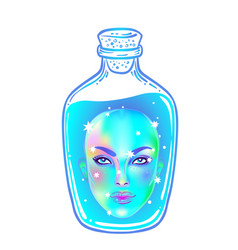 Female head inside a bottle with a blue liquid vector