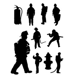 fireman gesture silhouette vector image