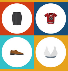 flat icon dress set of brasserie t-shirt male vector image