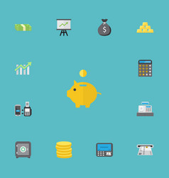 Flat icons teller machine finance sack vector