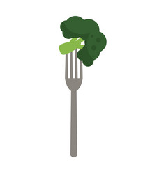 Fork with broccoli vector