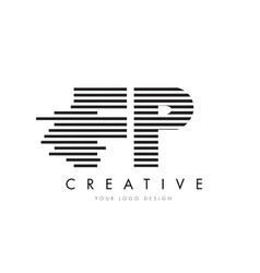fp f p zebra letter logo design with black and vector image