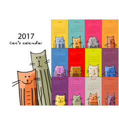 Funny cats design calendar 2017 vector