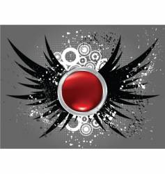 glossy button on grunge wings vector image