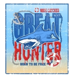 Greate hunter shark vector
