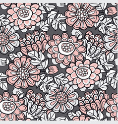 hand drawn naive autumn flowers seamless pattern vector image