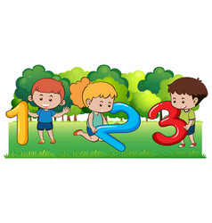 Happy children and numbers in the park vector