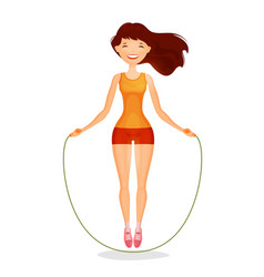 Happy girl with skipping rope fitness sports vector