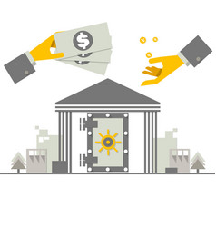 investing money concept hand putting money coin vector image