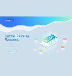 isometric crm web banner customer relationship vector image