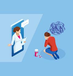 isometric depressed women online psychotherapy vector image