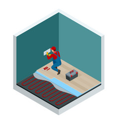 isometric layers of infrared floor heating system vector image