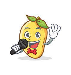 Karaoke mango character cartoon mascot vector