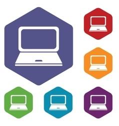 Laptop hexagon icon set vector