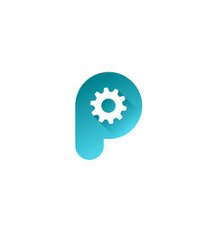 letter p technology logo icon design template vector image