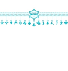 Light blue Christmas ornament banner with vector image