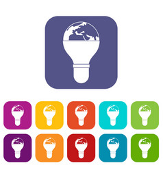 light bulb and planet earth icons set flat vector image