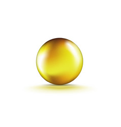 Liquid gel gold round oil bubble isolated vector